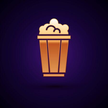 Gold Popcorn in cardboard box icon isolated on dark blue background. Popcorn bucket box. Vector Illustration