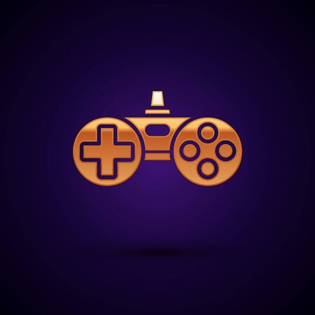 Gold Gamepad icon isolated on dark blue background. Game controller. Vector Illustration