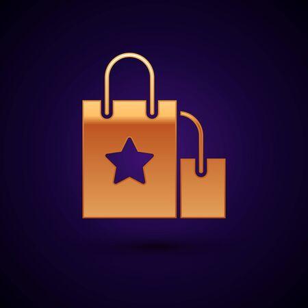 Gold Paper shopping bag icon isolated on dark blue background. Package sign. Vector Illustration Ilustração