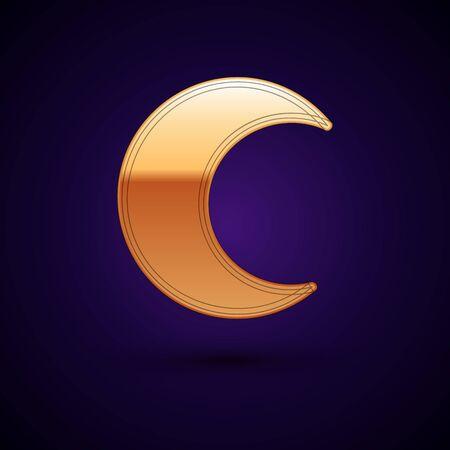 Gold Moon and stars icon isolated on dark blue background. Vector Illustration Standard-Bild - 134895122