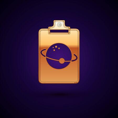 Gold Planet icon isolated on dark blue background. Vector Illustration Standard-Bild - 134895123