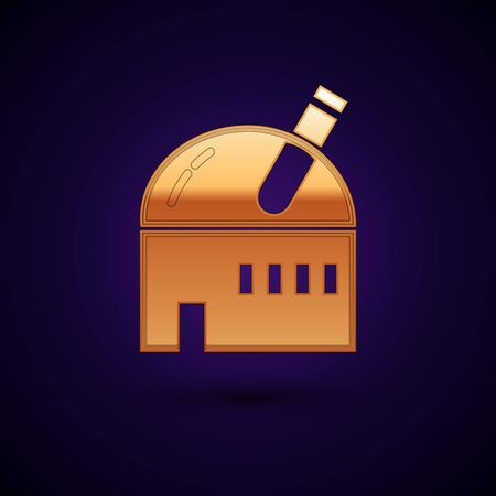 Gold Astronomical observatory icon isolated on dark blue background. Observatory with a telescope. Scientific institution. Vector Illustration