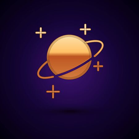 Gold Planet icon isolated on dark blue background. Vector Illustration Standard-Bild - 134895124