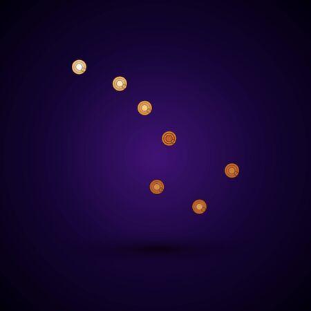 Gold Great Bear constellation icon isolated on dark blue background. Vector Illustration Standard-Bild - 134896238