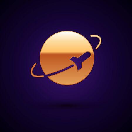 Gold Planet icon isolated on dark blue background. Vector Illustration Standard-Bild - 134896239