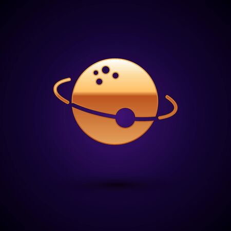 Gold Planet icon isolated on dark blue background. Vector Illustration