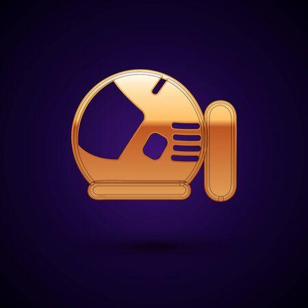 Gold Astronaut helmet icon isolated on dark blue background.  Vector Illustration Standard-Bild - 134896251