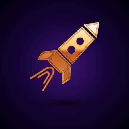Gold Rocket ship with fire icon isolated on dark blue background. Space travel.  Vector Illustration Standard-Bild - 134896253