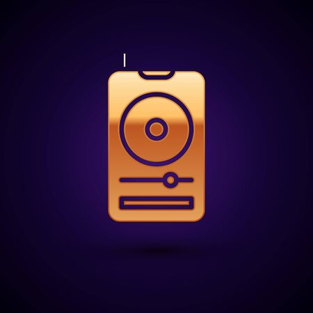 Gold Music player icon isolated on dark blue background. Portable music device. Vector Illustration Фото со стока - 134896586
