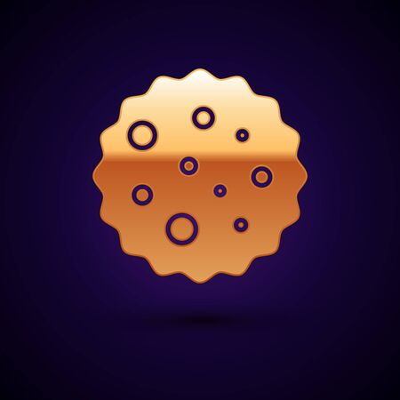 Gold Cookie or biscuit with chocolate icon isolated on dark blue background.  Vector Illustration