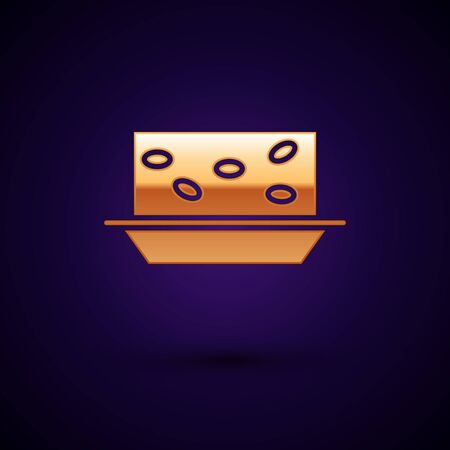 Gold Nougat with nuts icon isolated on dark blue background.  Vector Illustration
