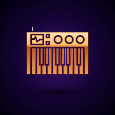 Gold Music synthesizer icon isolated on dark blue background. Electronic piano. Vector Illustration Illustration