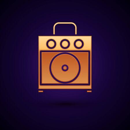 Gold Guitar amplifier icon isolated on dark blue background. Musical instrument. Vector Illustration Ilustração Vetorial