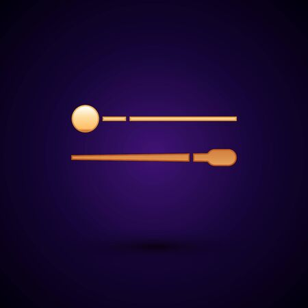 Gold Drum sticks icon isolated on dark blue background. Musical instrument. Vector Illustration Illusztráció