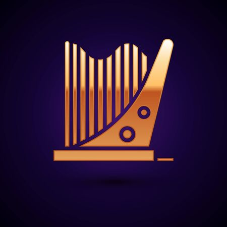 Gold Harp icon isolated on dark blue background. Classical music instrument, orhestra string acoustic element. Vector Illustration