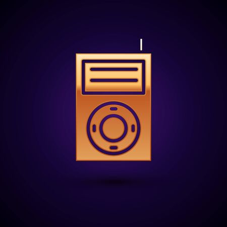 Gold Music MP3 player icon isolated on dark blue background. Portable music device. Vector Illustration Фото со стока - 134897011