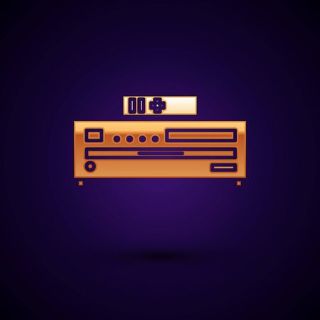 Gold Music CD player icon isolated on dark blue background. Portable music device. Vector Illustration Фото со стока - 134895478