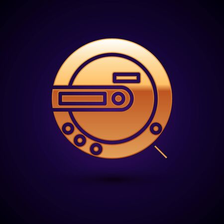 Gold Music CD player icon isolated on dark blue background. Portable music device. Vector Illustration