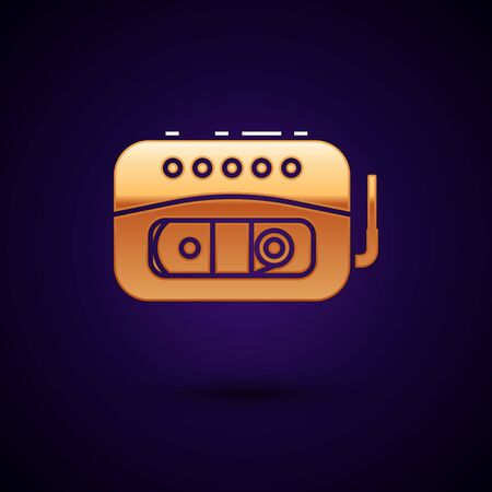 Gold Music tape player icon isolated on dark blue background. Portable music device. Vector Illustration Фото со стока - 134896468