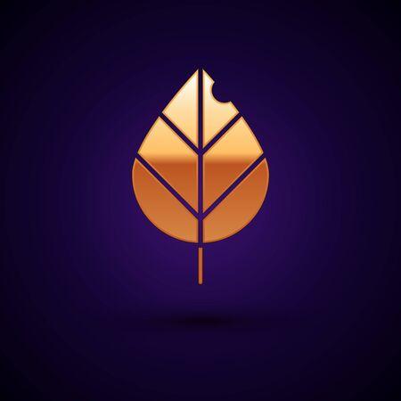Gold Leaf icon isolated on dark blue background. Fresh natural product symbol. Vector Illustration Illustration