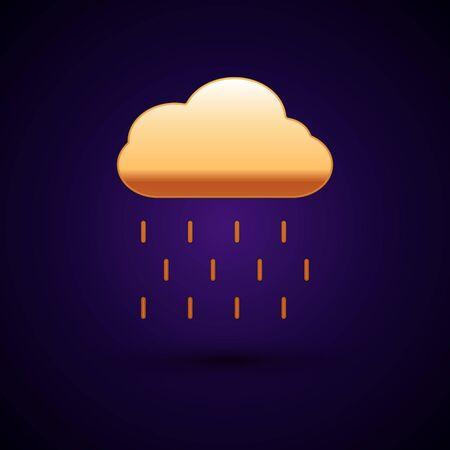 Gold Cloud with rain icon isolated on dark blue background. Rain cloud precipitation with rain drops. Vector Illustration