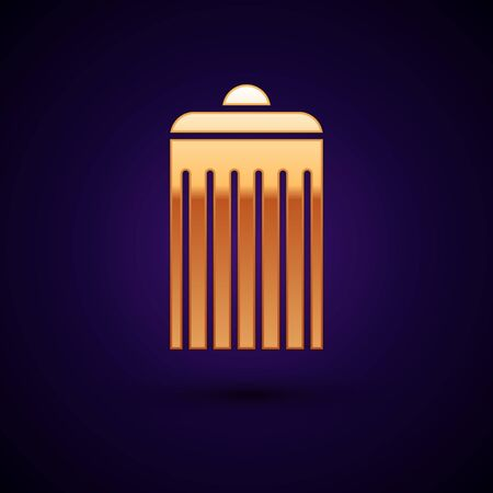 Gold Trash can icon isolated on dark blue background. Garbage bin sign. Recycle basket icon. Office trash icon. Vector Illustration