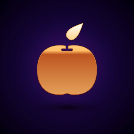 Gold Apple icon isolated on dark blue background. Fruit with leaf symbol. Vector Illustration Illustration