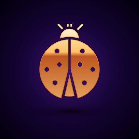 Gold Ladybug icon isolated on dark blue background. Vector Illustration