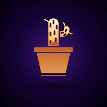 Gold Cactus and succulent in pot icon isolated on dark blue background. Plant growing in a pot. Potted plant sign. Vector Illustration
