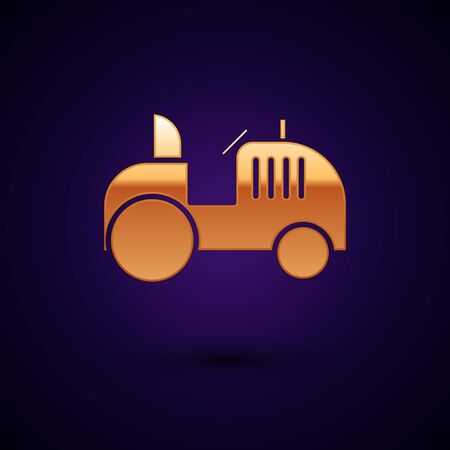 Gold Tractor icon isolated on dark blue background. Vector Illustration Ilustrace