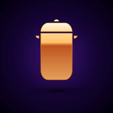 Gold Cooking pot icon isolated on dark blue background. Boil or stew food symbol. Vector Illustration Reklamní fotografie - 134897736