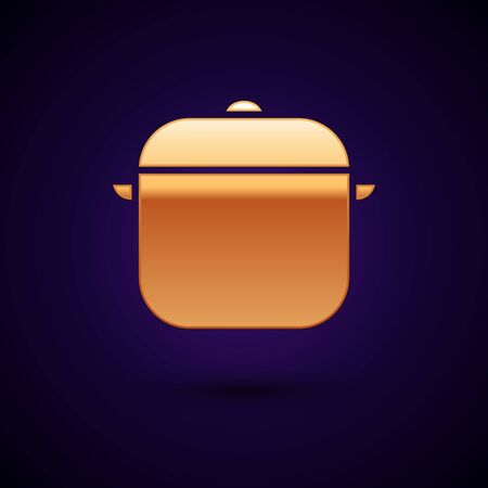 Gold Cooking pot icon isolated on dark blue background. Boil or stew food symbol. Vector Illustration Reklamní fotografie - 134898050
