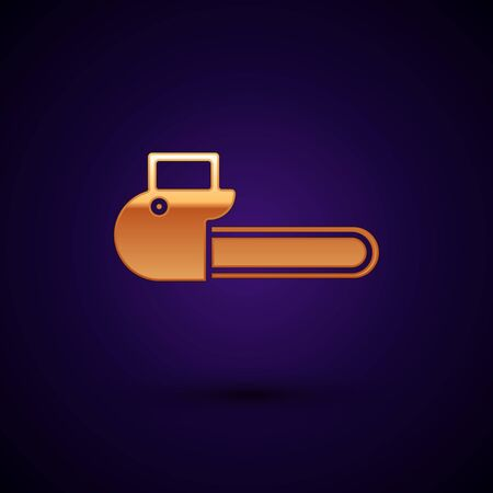 Gold Chainsaw icon isolated on dark blue background. Vector Illustration