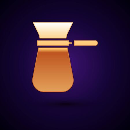 Gold Coffee turk icon isolated on dark blue background. Vector Illustration