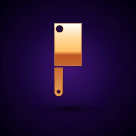 Gold Meat chopper icon isolated on dark blue background. Kitchen knife for meat. Butcher knife. Vector Illustration Reklamní fotografie - 134897758