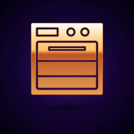 Gold Oven icon isolated on dark blue background. Stove gas oven sign. Vector Illustration