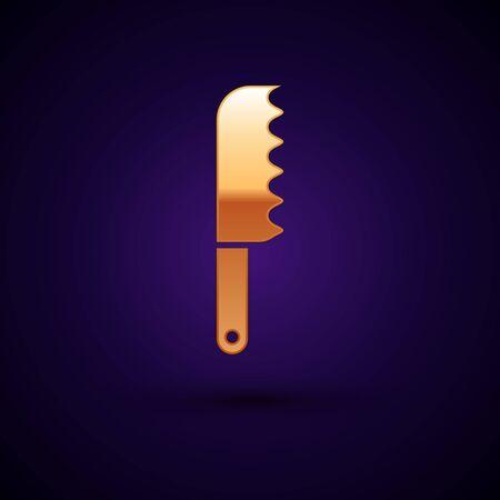 Gold Bread knife icon isolated on dark blue background. Cutlery symbol. Vector Illustration Reklamní fotografie - 134897760