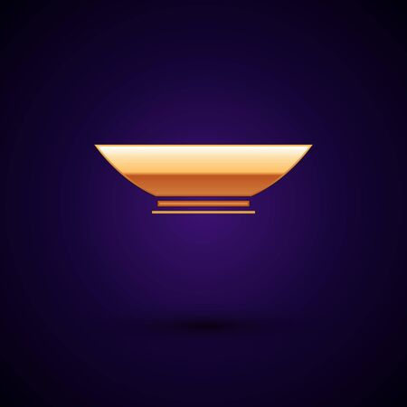 Gold Bowl icon isolated on dark blue background. Vector Illustration