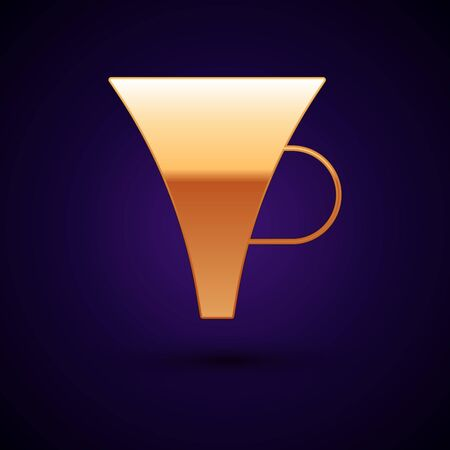 Gold Funnel or filter icon isolated on dark blue background. Vector Illustration