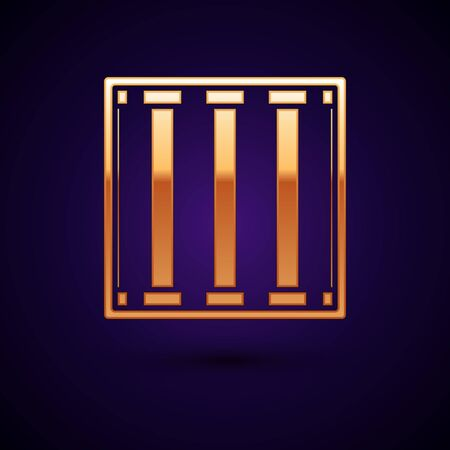 Gold Prison window icon isolated on dark blue background. Vector Illustration