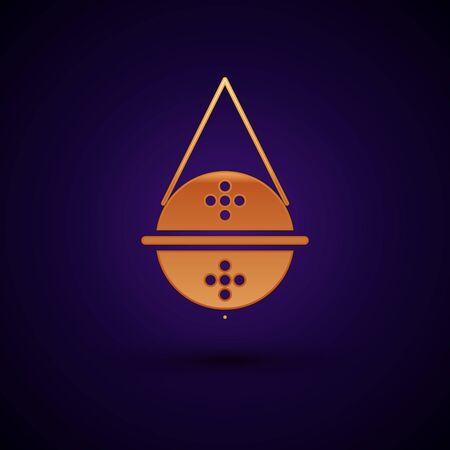 Gold Ball tea strainer icon isolated on dark blue background. Vector Illustration Illusztráció