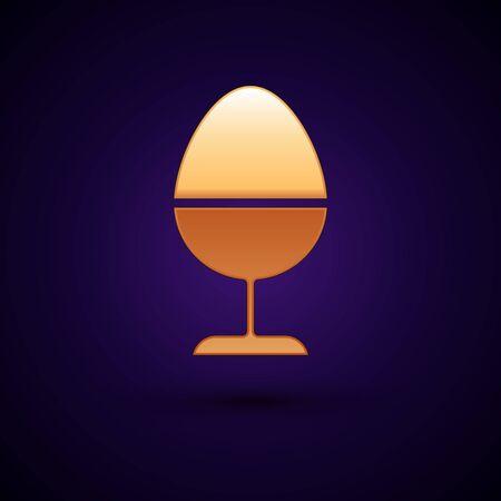 Gold Chicken egg on a stand icon isolated on dark blue background. Vector Illustration Illusztráció