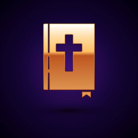 Gold Holy bible book icon isolated on dark blue background. Vector Illustration 向量圖像