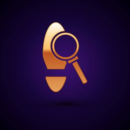 Gold Magnifying glass with footsteps icon isolated on dark blue background. Detective is investigating. To follow in the footsteps. Vector Illustration