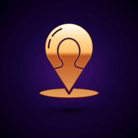 Gold Map marker with a silhouette of a person icon isolated on dark blue background. GPS location symbol. Vector Illustration
