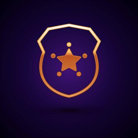 Gold Police badge icon isolated on dark blue background. Sheriff badge sign. Vector Illustration Illustration