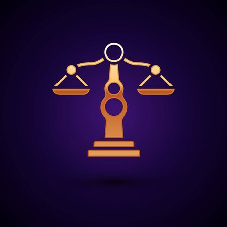 Gold Scales of justice icon isolated on dark blue background. Court of law symbol. Balance scale sign. Vector Illustration