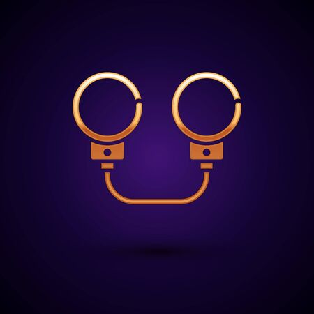 Gold Handcuffs icon isolated on dark blue background. Vector Illustration