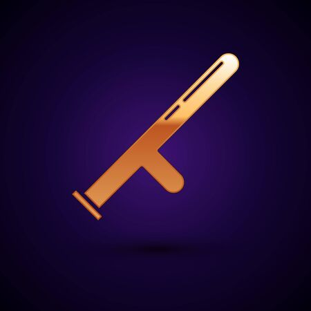 Gold Police rubber baton icon isolated on dark blue background. Rubber truncheon. Police Bat. Police equipment. Vector Illustration
