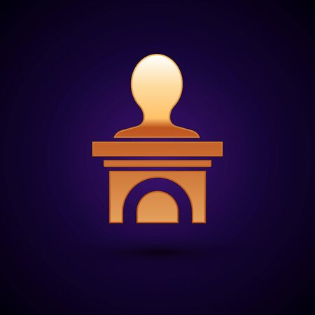 Gold Stage stand or debate podium rostrum icon isolated on dark blue background. Conference speech tribune. Vector Illustration